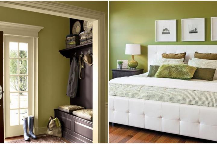 le vert olive fait son retour pour une d co r tro et cosy. Black Bedroom Furniture Sets. Home Design Ideas