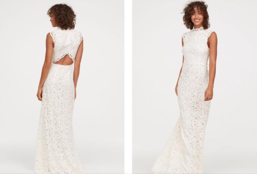 50968d22603 Sublime robe longue en dentelle avec bord festonné au niveau du petit col  droit et en bas