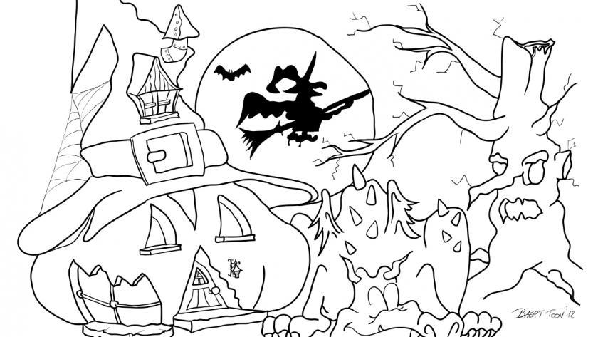 Halloween Kleurplaten.Kleurplaat Halloween Libelle