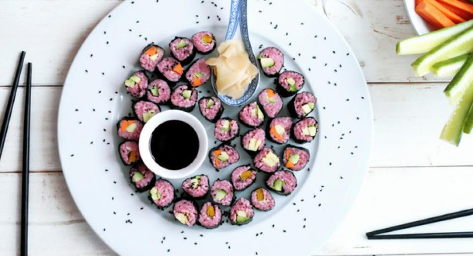 Zo maak je roze sushi