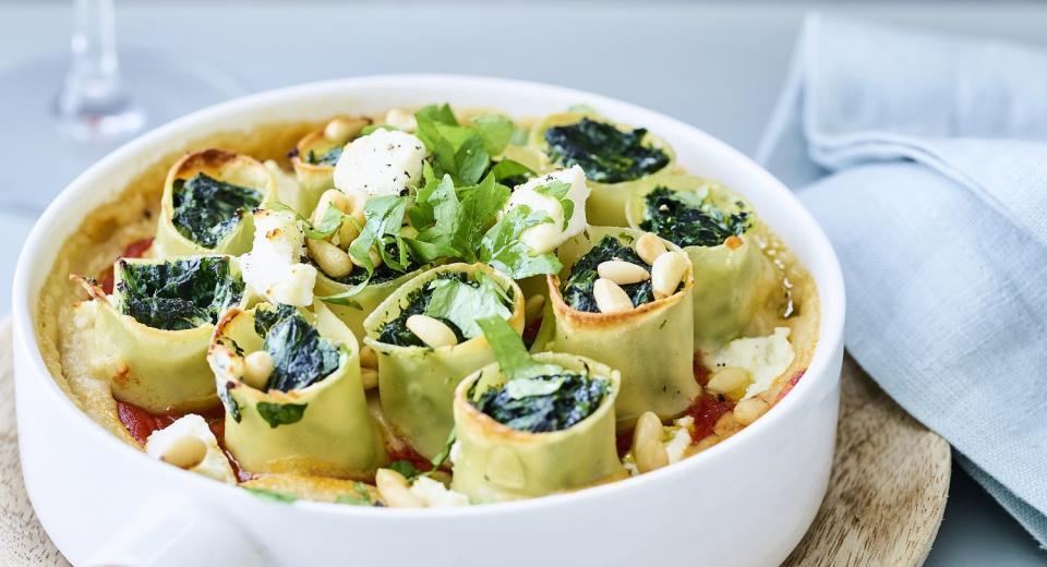 13x pasta met spinazie