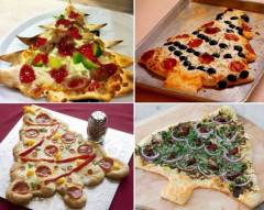 pizza, sapin de Noël