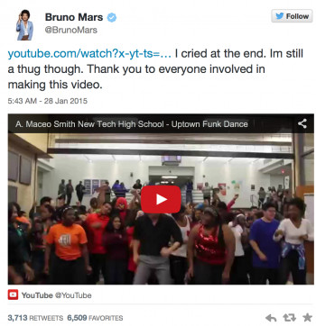 Bruno Mars tweet