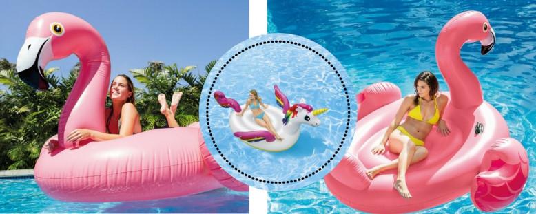 Opblaasbare flamingo of unicorn