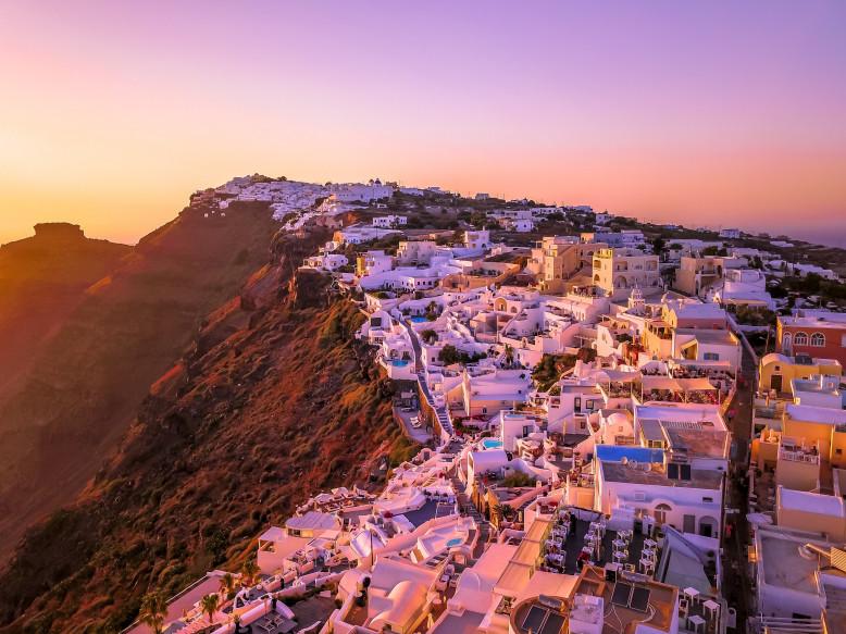 Zonsondergang in Santorini